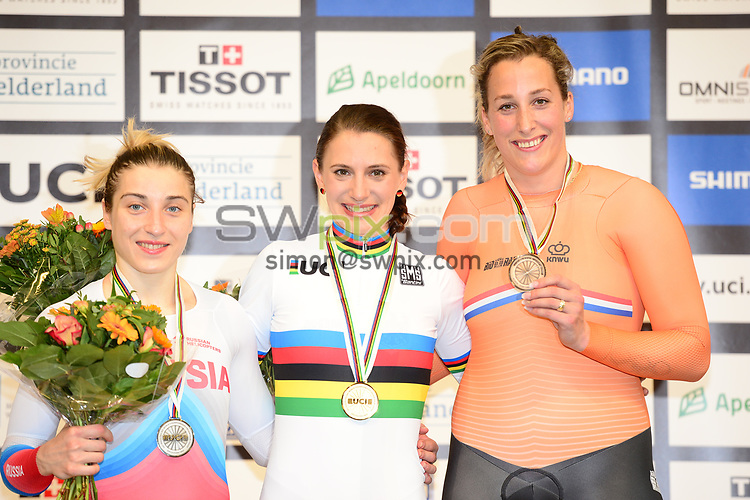 Picture by SWpix.com - 03/03/2018 - Cycling - 2018 UCI Track Cycling World Championships, Day 4 - Omnisport, Apeldoorn, Netherlands - Women's 500m Time Trial Podium - Daria Shmeleva of Poland, Miriam Welte of Germany and Elis Little of The Netherlands