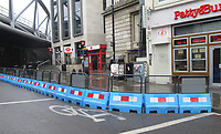 Temporary barriers are in place around London to create extra pavement area for the expected increase in people walking to work and to the shops which open on June 15th, to aid in social distancing London, UK on June 12th 2020<br /> <br /> Photo by Keith Mayhew