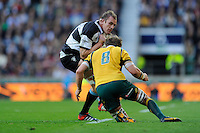 Al Kellock of Barbarians crashes into Ben McCalman of Australia during the Killik Cup match between Barbarians and Australia at Twickenham Stadium on Saturday 1st November 2014 (Photo by Rob Munro)