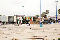 Trucks bring in food and meals ready to eat, MRE, following Hurricane Ike, Galveston, Texas.