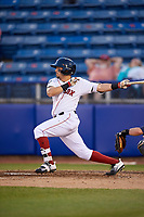 Salem Red Sox center fielder Chris Madera (3) follows through on a swing during a game against the Lynchburg Hillcats on May 10, 2018 at Haley Toyota Field in Salem, Virginia.  Lynchburg defeated Salem 11-5.  (Mike Janes/Four Seam Images)