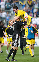 Danny O'Rourke celebrates with goalkeeper William Hesmer after winning the MLS Cup 2008, Columbus Crew 3-1 over the  New York Red Bulls, Sunday, November 23, 2008.
