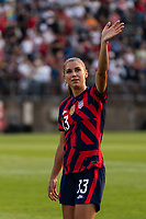 EAST HARTFORD, CT - JULY 5: Alex Morgan #13 of the United States salutes the fans after a game between Mexico and USWNT at Rentschler Field on July 5, 2021 in East Hartford, Connecticut.