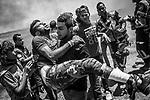 SHEJAIYA, GAZA: A Shebab got injured at his leg by a shot of an Israeli soldier on May 14, 2018 in Gaza City, Gaza. Israeli soldiers killed at least 52 Palestinians and wounded over a thousand as the demonstrations coincided with the controversial opening of the U.S. Embassy in Jerusalem.<br /> <br /> <br /> SHEJAIYA,GAZA: Un Shebab a été blessé à la jambe par un tir de l'armée israelienne le 14 mai 2018. Les soldats israéliens ont tué au moins 52 Palestiniens et en ont blessé plus d'un millier lors de manifestations qui coïncident avec l'ouverture controversée de l'ambassade des États-Unis à Jérusalem.