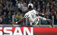 Calcio, Champions League: Gruppo D - Juventus vs Siviglia. Torino, Juventus Stadium, 30 settembre 2015.  <br /> Juventus' Paul Pogba performs a bicycle kick during the Group D Champions League football match between Juventus and Sevilla at Turin's Juventus Stadium, 30 September 2015.<br /> UPDATE IMAGES PRESS/Isabella Bonotto
