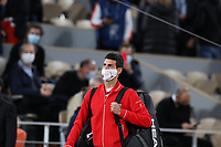 11th October 2020, Roland Garros, Paris, France; French Open tennis, mens singles final 2020;  Novak Djokovic of Serbia steps into the court before the mens singles final match against Rafael Nadal of Spain at the French Open tennis tournament 2020 at Roland Garros