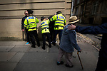 """© Joel Goodman - 07973 332324 . 22/08/2015 . Manchester , UK . Police detain far-right protesters . Far-right nationalist group , """" North West Infidels """" and Islamophobic , anti-Semitic and white supremacist supporters , hold a rally in Manchester City Centre . Photo credit : Joel Goodman"""