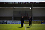 Arbroath 0 Edinburgh City 1, 15/03/2017. Gayfield Park, SPFL League 2. Away manager Gary Jardine (left) and coach Ross Ballentyne chatting on the pitch at Gayfield Park before Arbroath hosted Edinburgh City in an SPFL League 2 fixture. The newly-promoted side from the Capital were looking to secure their place in SPFL League 2 after promotion from the Lowland League the previous season. They won the match 1-0 with an injury time goal watched by 775 spectators to keep them 4 points clear of bottom spot with three further games to play. Photo by Colin McPherson.