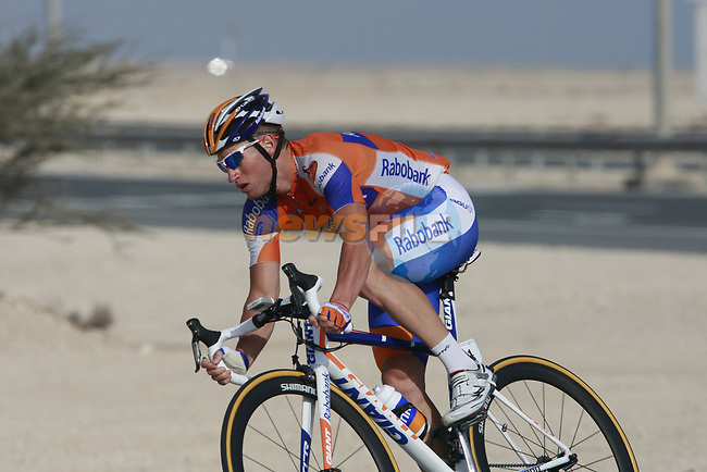 Rabobank team rider Mark Renshaw (AUS) warms up before the 2nd Stage of the 2012 Tour of Qatar an 11.3km team time trial at Lusail Circuit, Doha, Qatar. 6th February 2012.<br /> (Photo Eoin Clarke/Newsfile)