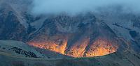 Early morning light on the base of Quail Peak