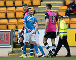 St Johnstone v Dundee…11.03.17     SPFL    McDiarmid Park<br />Danny Swanson winds up Cammy Kerr<br />Picture by Graeme Hart.<br />Copyright Perthshire Picture Agency<br />Tel: 01738 623350  Mobile: 07990 594431