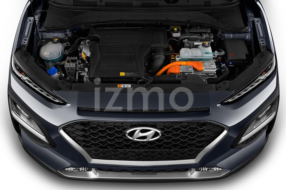 Car stock 2020 Hyundai Kona Hybrid Sky 5 Door SUV engine high angle detail view