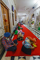 Asia,India,Punjab, Amristar, Golden temple,Palki Sahib where is the Sikh holy book, pilgrims spend the night praing and sleeping on the porch
