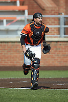Campbell Camels catcher Marcus Skundrich (21) on defense against the Dayton Flyers at Jim Perry Stadium on February 28, 2021 in Buies Creek, North Carolina. The Camels defeated the Flyers 11-2. (Brian Westerholt/Four Seam Images)