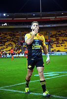 Cory Jane thanks fans as he is subbed off during the Super Rugby match between the Hurricanes and Jaguares at Westpac Stadium, Wellington, New Zealand on Saturday, 9 April 2016. Photo: Dave Lintott / lintottphoto.co.nz