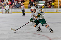 29 December 2018: University of Vermont Catamount Forward Ace Cowans, a Sophomore from Beverly, MA, in second period action against the Rensselaer Engineers at Gutterson Fieldhouse in Burlington, Vermont. The Catamounts rallied from a 2-0 deficit to defeat RPI 4-2 and win the annual Catamount Cup Tournament. Mandatory Credit: Ed Wolfstein Photo *** RAW (NEF) Image File Available ***