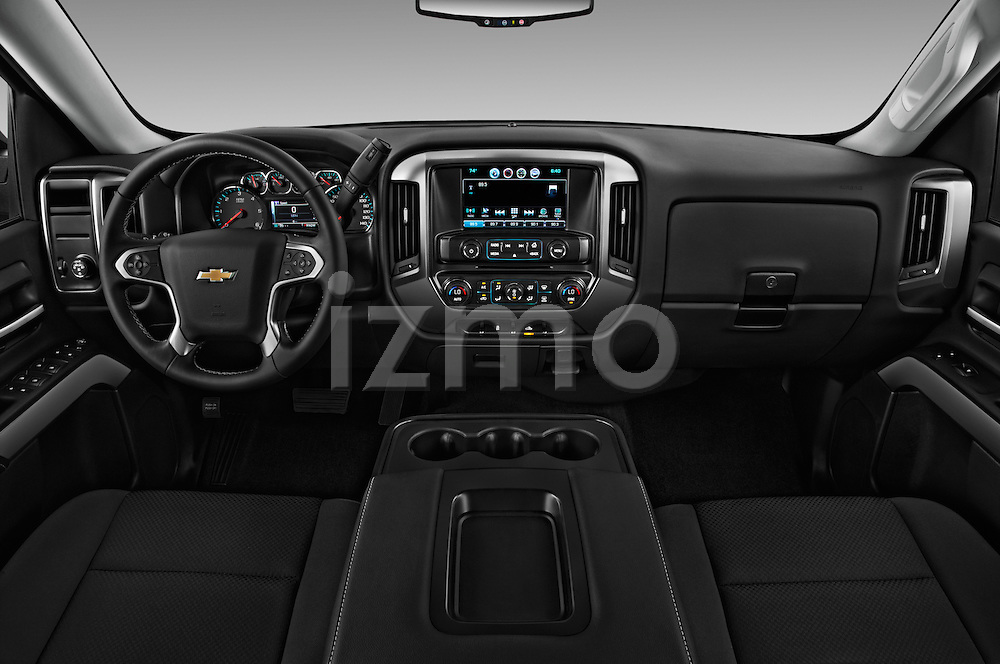Stock photo of straight dashboard view of 2018 Chevrolet Silverado-1500 LT-Double-Cab-Std-Box 4 Door Pick-up Dashboard