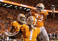 KNOXVILLE, TN - OCTOBER 5: Jauan Jennings #15, Marquez Callaway #1 and Trey Smith #73 of the Tennessee Volunteers celebrate Jennings catch for a touchdown during a game between University of Georgia Bulldogs and University of Tennessee Volunteers at Neyland Stadium on October 5, 2019 in Knoxville, Tennessee.