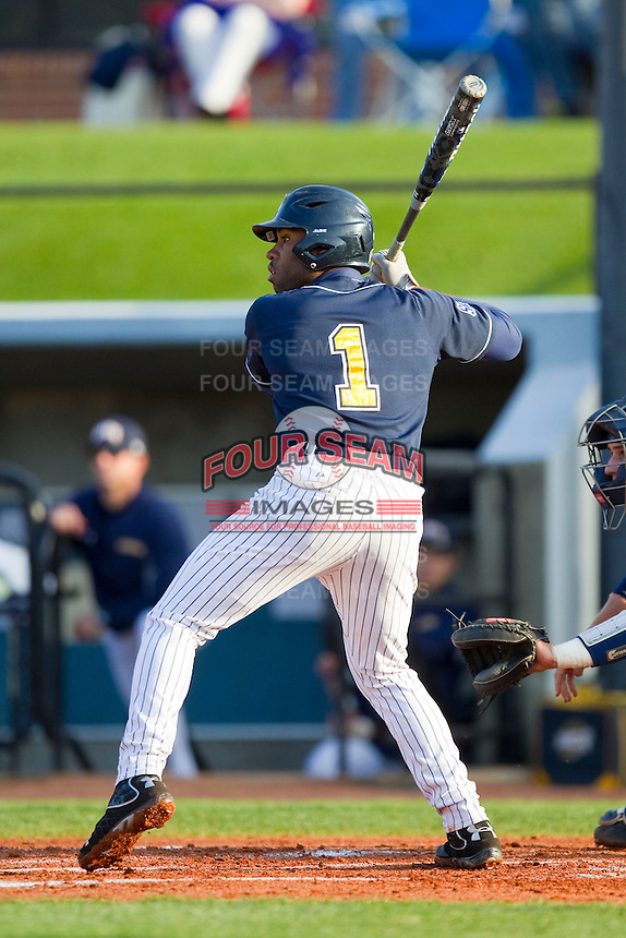 Ray Crawford (1) of the UNCG Spartans at bat against the Georgia Southern Eagles at UNCG Baseball Stadium on March 29, 2013 in Greensboro, North Carolina.  The Spartans defeated the Eagles 5-4.  (Brian Westerholt/Four Seam Images)