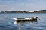 An aging dinghy waits on mooring in a cove on Lopez Island in the San Juan Islands, Washington State.