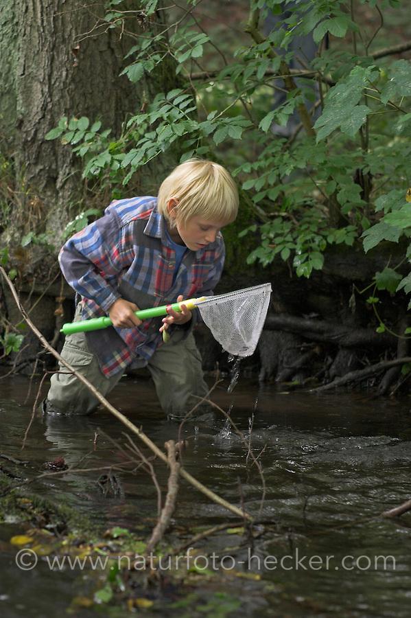 Kind, Junge keschert in einem Bach