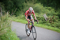 Tim Wellens (BEL/Lotto-Belisol) places a decisive (winning) attack on the Côte de Niaster (1800m/7.7%).<br /> Nobody is able to follow him.<br /> <br /> Eneco Tour 2014<br /> stage 6: Heerlen - La Redoute (Aywaille)