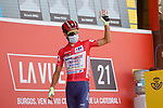 New race leader Odd Christian Eiking (NOR) Intermarché-Wanty-Gobert Matériaux at sign on before the start of Stage 11 of La Vuelta d'Espana 2021, running 133.6km from Antequera to Valdepeñas de Jaén, Spain. 25th August 2021.     <br /> Picture: Luis Angel Gomez/Photogomezsport | Cyclefile<br /> <br /> All photos usage must carry mandatory copyright credit (© Cyclefile | Luis Angel Gomez/Photogomezsport)