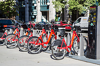 Capital Bikeshare Rental Bicycle Station, Washington DC, USA.