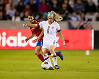 HOUSTON, TX - FEBRUARY 03: Julie Ertz #8 of the USA passes the ball during a game between Costa Rica and USWNT at BBVA Stadium on February 03, 2020 in Houston, Texas.