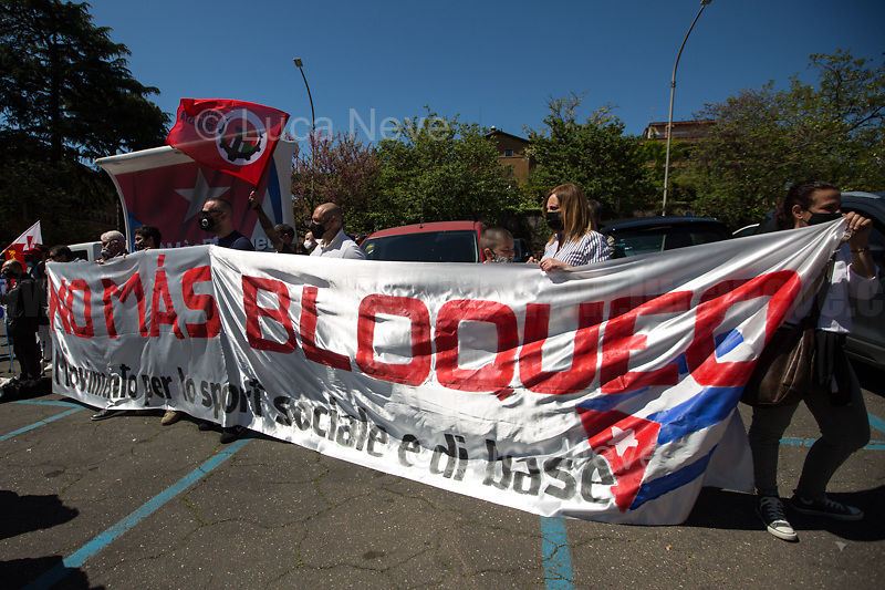 Rome, Italy. 24th Apr, 2021. Today, the Associazione Nazionale D'Amicizia Italia Cuba (1.) held a demonstration outside the Cuban Embassy in Rome in support and solidarity with Cuban people and against the ongoing US and Western embargo against the Communist Caribbean Island still in place since 1962.<br /> <br /> Footnotes & Links:<br /> 1. https://www.facebook.com/groups/26909228243