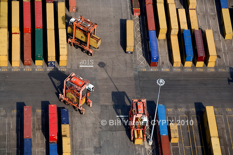Maritime container operations Port of Norfolk helicopter aerial