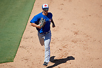Toronto Blue Jays Cal Stevenson (18) jogs back to the dugout during a Florida Instructional League game against the Philadelphia Phillies on September 24, 2018 at Spectrum Field in Clearwater, Florida.  (Mike Janes/Four Seam Images)