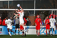 Ohio State Buckeyes midfielder Geoff Marsh (9) and Wake Forest Demon Deacons defender Pat Phelan (5) go up for a header. The Wake Forest Demon Deacons defeated the Ohio State Buckeyes 2-1 in the finals of the NCAA College Cup at SAS Stadium in Cary, NC on December 16, 2007.