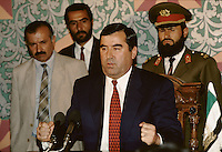 Tajikistan president Rakhmonov, at the meeting between Rakhmonov and the Leader of the United Tajik Opposition S.A. Nuri, in a tentative of peace and reconciliation made by the Afghan President Borhan'udin Rabani in 1995 at the President palace in Kabul, Afghanistan..During 1992 to 1997, Tadzikistan suffer civil war...Emomali Sharipovich Rakhmonov (born October 5, 1952) has been the President of Tajikistan since 1994 (and the head of state since 1992)..He was born to a peasant family in Dangara, in Koolyab (Kuljab) province. His original power base was as chairman of the collective state farm of his native Dangara, and in 1990 he was elected people's deputy of the Supreme Council of the Tajik SSR. He was confirmed by re-election as chairman of the Supreme Council of an independent Tajikistan in 1992, after the resignation of the pro-Communist Rahman Nabiyev..On November 6, 1994, Rahmonov was elected to the newly created post of president of Tajikistan, and he was sworn in on November 16. Following constitutional changes, he was re-elected on November 6, 1999 to a seven-year term, taking 97% of the vote. On June 22, 2003, he won a referendum that would allow him to run for two more consecutive seven-year terms after his present term expires in 2006. The opposition alleges that this amendment was hidden in a way that verged upon electoral fraud.