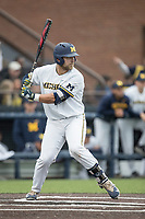 Michigan Wolverines catcher Harrison Wenson (7) at bat against the Michigan State Spartans on May 19, 2017 at Ray Fisher Stadium in Ann Arbor, Michigan. Michigan defeated Michigan State 11-6. (Andrew Woolley/Four Seam Images)