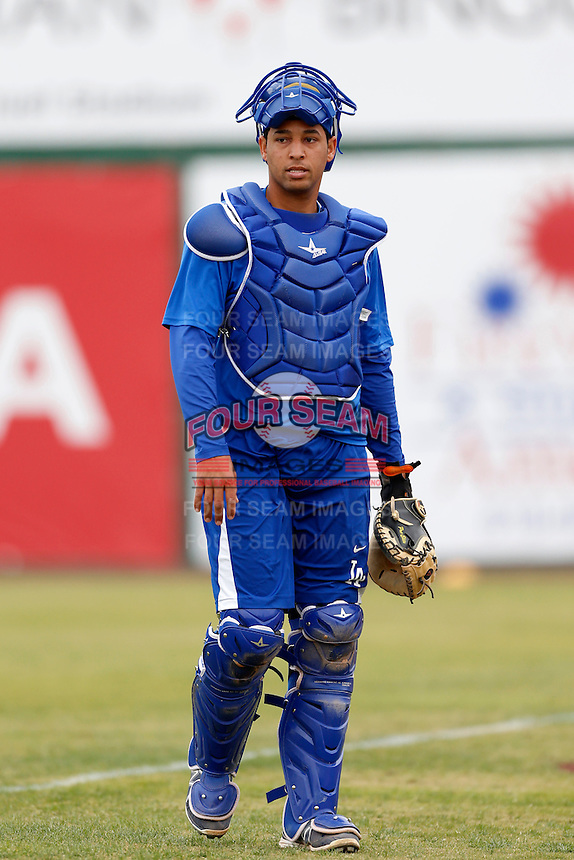 Webster Rivas #48 of the Rancho Cucamonga Quakes before a game against the Inland Empire 66'ers at San Manuel Stadium on April 24, 2013 in San Bernardino, California. Inland Empire defeated Rancho Cucamonga, 2-1. (Larry Goren/Four Seam Images)