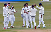 Kent's Grant Stewart (3rd R facing) is congratulated after taking the wicket of Yorkshire's Tom Kohler-Cadmore during Kent CCC vs Yorkshire CCC, LV Insurance County Championship Group 3 Cricket at The Spitfire Ground on 17th April 2021