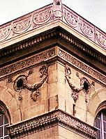 Bibliotheque Sainte-Genevieve. Detail of corner of building.