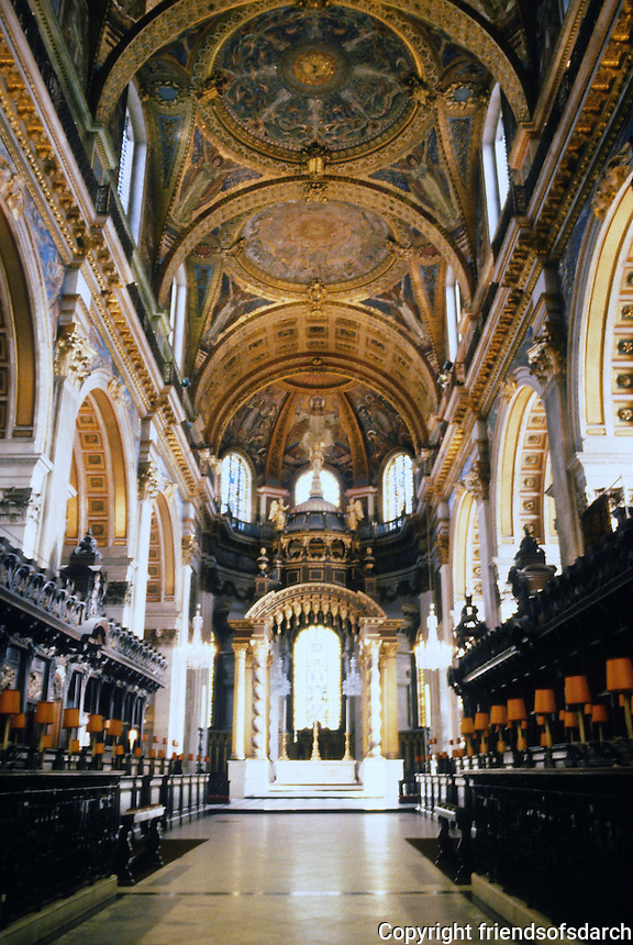Sir Christopher Wren: St. Paul's Cathedral--interior. Looking down Choir from Crossing. Photo '90.