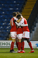 GOAL - Fleetwood Town's Jordy Hiwula (7) celebrates scoring the opening goal with team-mate  during the The Checkatrade Trophy match between Bury and Fleetwood Town at Gigg Lane, Bury, England on 9 January 2018. Photo by Juel Miah/PRiME Media Images.