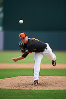 GCL Orioles pitcher Will Shepley (46) delivers a pitch during the second game of a doubleheader against the GCL Rays on August 1, 2015 at the Ed Smith Stadium in Sarasota, Florida.  GCL Orioles defeated the GCL Rays 11-4.  (Mike Janes/Four Seam Images)