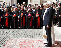 Pope Francis and Italian President Sergio Mattarella (r) listen to national anthems on the occasion of the pontiff's visit to the Quirinale presidential palace, in Rome, on June 10, 2017.<br /> UPDATE IMAGES PRESS/Isabella Bonotto<br /> STRICTLY ONLY FOR EDITORIAL USE