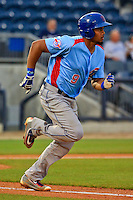 Tennessee Smokies third baseman Jeimer Candelario (9) runs to first during a game against the Biloxi Shuckers at MGM Park on May 2, 2016 in Biloxi, Mississippi. (Derick E. Hingle/Four Seams Images)