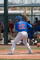 Chicago Cubs right fielder Jeffrey Baez (22) at bat during a Minor League Spring Training game against the Oakland Athletics at Sloan Park on March 13, 2018 in Mesa, Arizona. (Zachary Lucy/Four Seam Images)