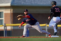 Lowell Spinners first baseman Joe Davis (55) stretches for a throw as J.D. Orr (22) runs through the bag during a NY-Penn League game against the Batavia Muckdogs on July 10, 2019 at Dwyer Stadium in Batavia, New York.  Batavia defeated Lowell 8-6.  (Mike Janes/Four Seam Images)
