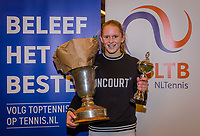 Wateringen, The Netherlands, December 8,  2019, De Rhijenhof , NOJK juniors 14 and18 years, Finals 18 years: Winner  girls 18 years  Sophie Schouten (NED)<br /> Photo: www.tennisimages.com/Henk Koster