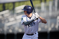 Princeton Rays right fielder Beau Brundage (16) at bat during the first game of a doubleheader against the Johnson City Cardinals on August 17, 2018 at Hunnicutt Field in Princeton, Virginia.  Johnson City defeated Princeton 6-4.  (Mike Janes/Four Seam Images)