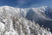 Franconia Ridge from along the Old Bridle Path in the White Mountains, New Hampshire during the winter months.