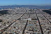 aerial photograph Richmond district residential neighborhood avenues to financial district  San Francisco California