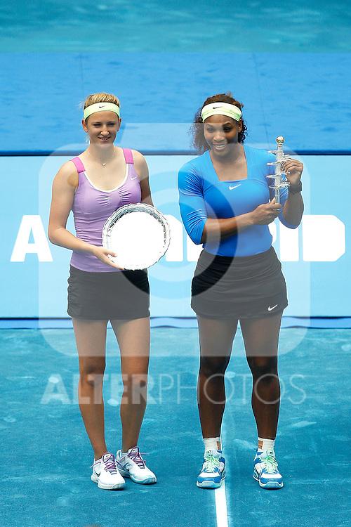 Venus Williams and Victoria Azarenka at WTA Singles final  during Mutua Madrid Open 2012 on may 13th 2012...Photo: Cesar Cebolla / ALFAQUI